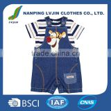 High quality newborn baby boys children clothing set custom kids clothes denim jeans romper playsuits dungarees and t-shirt 2016