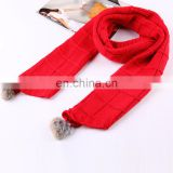 Latest pattern genuine rabbit fur pompon baby kids winter warm scarf