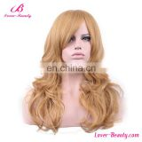 Layered curly synthetic long blonde human hair wig