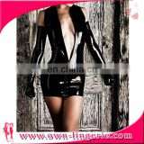Black Faux Leather Night Club mini dress Fashion v neck clubwear mini dress
