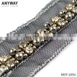 Guangzhou crystal beaded lace trim beaded trim for dress