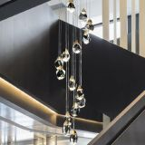 Luxury K9 crystal Chandelier Lamp Brass Stair pendant lamp for living room and dining room