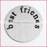 "Floating lockets plates 2016 new trendy stainless steel window plate ""best friends"""