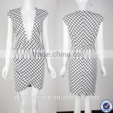 latest casual dress designs fashion low v neck women casual one piece dress in check print
