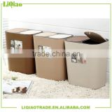 Fashion plastic decorative trash can with double covers/lids for family