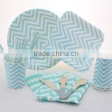 Blue Chevron Disposable Tableware Paper Plate Paper Cup Paper Straw Wooden Cutlery