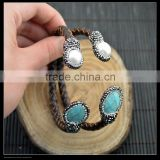 LFD-B0016 Druzy Pearl With Turquoise Pave Rhinestone Leather Bangles Jewelry Finding