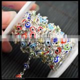 LFD-0013C ~ Wholesale Silver Plated Wire Wrapped Mixed Color Evil Eye Stone Chain Beaded Jewelry Making
