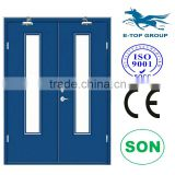 E-TOP DOOR double FIRE EXIT DOOR 3 hour fire rated door with glass