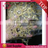 Fashion gold embroidered mesh lace fabric and french beaded lace for wedding dress                                                                         Quality Choice