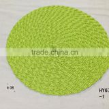 New Arrived handmade woven plastic decorative wholesales round cheap placemat for dinner