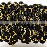 AAA Beautiful Natural Black Onyx Oval & Cushion Shape Bezel Continuous Connector Chain 10X12mm In 24k Gold Plated Wire by foot