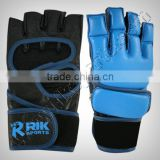 Grappling MMA Short Finger Gloves with finger tips, Made of finest quality cowhide leather, inside durable foam padded