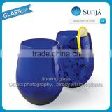 Wholesale OEM Stemless wine glass Icy cocktail glass tumbler blue colored stemless Tumbler