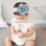 Bulk Denim Flower Rose Headband With Mesh,Jean Fabric Lace Headband For Infant                                                                         Quality Choice