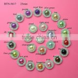 2015 Hot selling 25mm double row rhinestone with pearl button for decorating clothes & flower in stock (btn-5617)