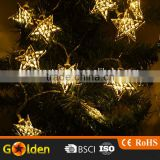 2V 80mA Solar Panel 12 led solar energy golden star festival lamp set