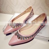 Casual styls ladeis neon pink leather hollow out sexy pointed shoes size 13 womens flats