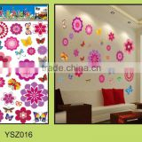large red flower removable butterfly wall sticker living room decor/3D flower wall sticker