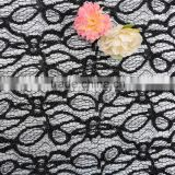 2016 polyester black shiny lace bonded african lace in korea french chantilly lace black lace fabric
