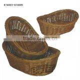 High quality boat shaped rattan basket/recycled woven basket/rattan basket weaving/rattan laundry basket#674003OT-674005OT