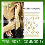 Fashion Fake Body Jewelry Golden Metallic Temporary Tattoo