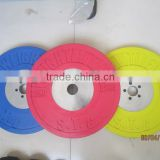fitness equipment color rubber coated bumper barbell weight plate with chrome plate in the mid