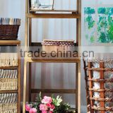 Popular design 2 layer garden antique wall hanging wood shelf with hooks