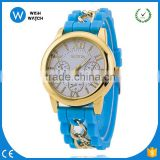 GW015/ Hot Silicone GENEVA Women Gold Chain Watches Fashion Casual Quartz Watch For Girls
