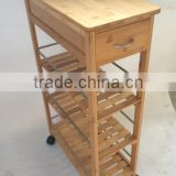 Multi-function bamboo kitchen trolleys with baskets wheels for kitchen/dinning room/living room