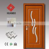 2015 wholesale mdf pvc wood interior decorative wooden glass insert door for bathroom,toilet