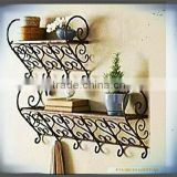 home decor vintage scrollwork set of 2 Muti Purpose Organizer book shelf bathroom rack metal floating wall shelf