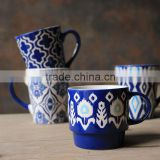 350cc 12oz Blue and White Hand Painted Graceful Elegant Coffee Tea Mugs