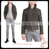 OEM men's Suede jacket with faux fur collar new design fashionable dark grey winter jackets wholesale