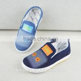 KS50095X Denim fabric printed pattern design dichotomanthes bottonm kids slip on canvas shoes