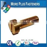 Made in Taiwan Metric Coarse Slotted Cheese Head Machine Screw Brass Stainless Steel Carbon Steel