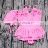 2017 new designs pink swiming cap match swimwear baby girls swimsuits