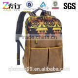 Khaki Brown Aztec Canvas and Leather Trim Computer Shoulder Backpack Bags