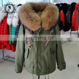 $345 winter clothing fashion raccoon fur collar army green beading jacket manufacturer