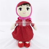 Musical Rag Soft Plush Girl Doll Toy With Red Dress Custom Pretty Stuffed Plush Baby Muslim Doll