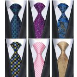 Blue Summer Mens Jacquard Neckties Knit Extra Long