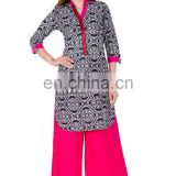 Indian style short tunic Kurtis fashioned 100% cotton band collar 3/4 sleeve manufacturer india