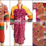 Gypsy tribal dress Banjara tunic -embroidered ethnic- Indian boho cotton Tunic-Afghani Kuchi with shisha mirrors Tunic