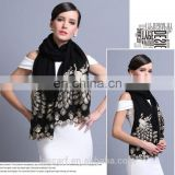 2015 NEW 100% Wool high quality elegant peacock scarf shawl black