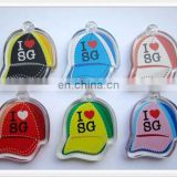 Hat shape custom logo card inserted Acrylic keychain
