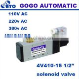 "GOGO Pneumatic single coil solenoid valve air 4V410-15 Port 1/2"" BSP 24V DC 5 way electric control valve with Plug red LED light"