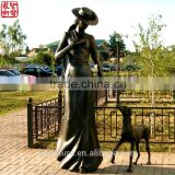 Nude Woman Sculpture With Dog Bronze Garden Sculpture Figure Sculpture Life Size Bronze Sculpture