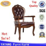Hot sale European French solid chinese back antique wooden hand carved chair with arm for reception