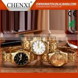 China Manufacturer Round Case Brand Day/Date Fashion Diamond Gold Watches Men