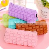 Osini custom Silicon rubber products pencil case plain color Waterproof Chocolate Silicone zipper pencil case